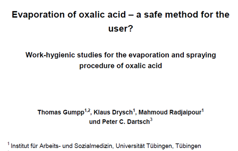 Evaporation of oxalic acid – a safe method for the user?